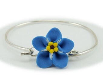 Forget Me Not Bracelet Sterling Silver Bangle - Forget Me Not Jewelry