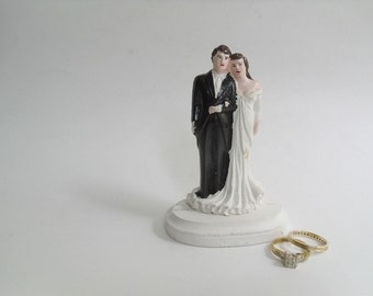 Vintage Wedding Cake Topper,  Bride & Groom, Chalkware Plaster, Handpainted