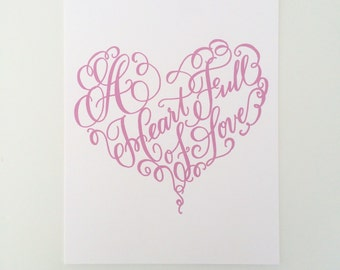 "A Heart Full of Love - 8x10""Print - PINK"