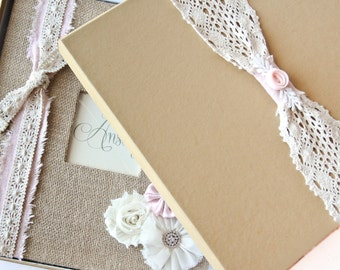 Keepsake Box - Gift Box - For Baby Memory Book,  Crochet Lace