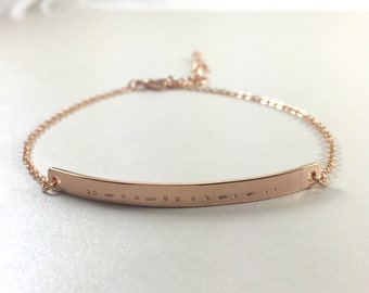 Morse Code Bracelet Morse Code Jewelry Hidden Message Bracelet Gold Bar Bracelet Bridesmaids Gift Mothers Jewelry