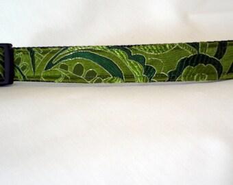Brocade Silk Dog Collar - Olive Green - 1 Inch Wide - Ready To Ship