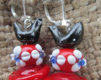 Handmade Black Hen And Red Flowered, Red Saturn Pierced Earrings, Handmade By Susan Every OOAK