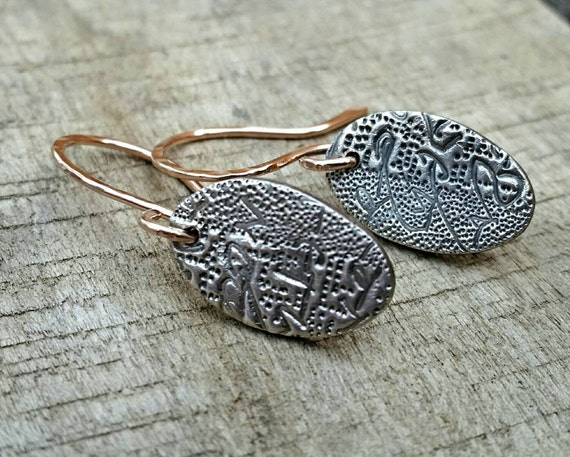 Sterling Silver Texture Embossed Dangle Drop Earrings, Rustic, Oval, Everyday Wear, Shown With Gold Filled Handcrafted Ear Wires
