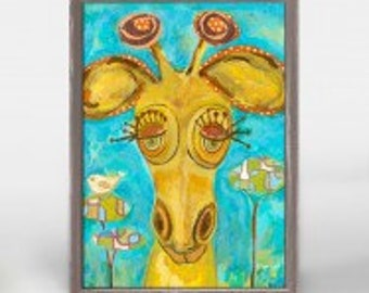 Doe Eyed Giraffe wooden framed mini canvas 5 x 7