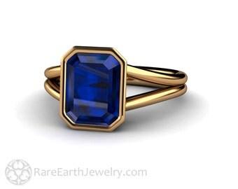 Sapphire Ring Blue Sapphire Engagement Ring Bezel Split Shank Solitaire 14K or 18K Gold Blue Gemstone Ring Wedding Ring