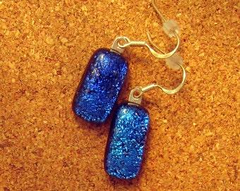 Blue Dichroic Earrings - Fused Glass Earrings - Dichroic Jewelry - Fused Glass Jewelry - Glass Earrings