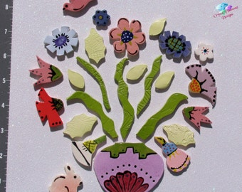 Mix of Flower in a  BOUQUET - Kiln Fired Handmade Ceramic Mosaic Tiles M3428