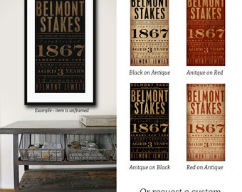 Belmont Stakes horse racing sports man cave typography illustration graphic artwork signed giclee archival print by stephen fowler