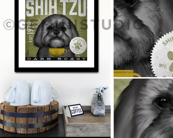 Shih Tzu Coffee Company dog graphic illustration giclee archival signed artist's print by stephen fowler