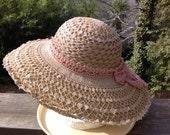 Crochet Sun Hat , Vintage Crochet, Bridal Elegance, For your Vintage Hippie Meadow Wedding