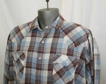 Blue Plaid Cowboy Shirt 80s Levis Western Vintage plaid shirt Silver mylar 80s vintage Levis shirt XL