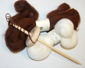 Drop Spindle Kit, Learn to Spin, Alpaca Roving, Merino Roving, Top Whorl or Bottom Whorl, Handmade by LaTeaDaDesigns on Etsy