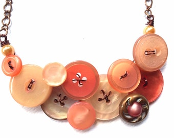 Button Necklace Rustic Peach Shimmer Buttons with Copper