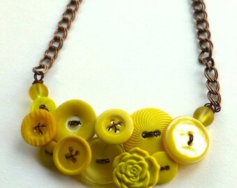 ON SALE Button Necklace Shades of Yellow Vintage Button Necklace