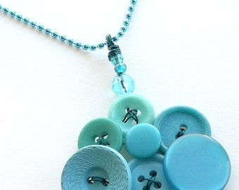 ON SALE Bright Jewelry - Robin's Egg Blue Vintage Button Pendant