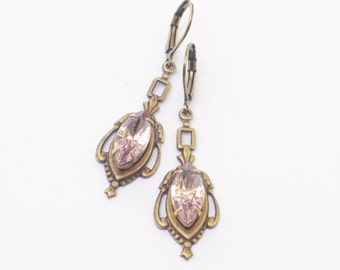 Lavender jewel earrings brass edwardian crystal vintage antique style purple gem light amethyst bronze bridal jewelry wedding