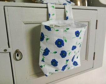 Thread Catcher- Scrap Caddy - Pin Cushion -  Blue & White Poppy Print Cotton - Handmade