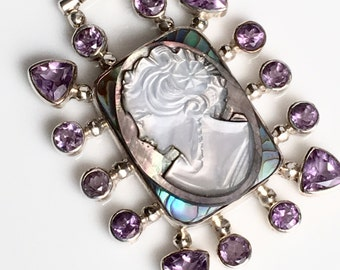 February Birthstone Necklace Jewelry, February Birthday Gift, Birthstone Vintage Cameo, Amethyst, Purple, Romantic Gift For Wife