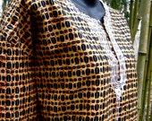 Vintage Dashiki - Batik in Honey and Black - Free Size