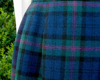 Plaid Pendleton Wool Skirt - Size Medium Petite - Baird Tartan - 1980s