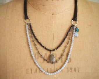 Talia, triple strand necklace with antique French elements