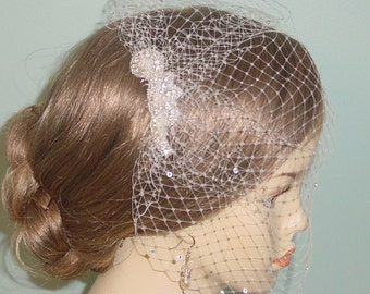 Crystal Rhinestone Birdcage Blusher Wedding Veil  25 Colors Available