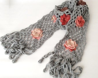 Sky GRAY, WEB Rose Lace Scarf, Crochetting, long, roses