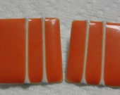 Vintage Orange Square White Stripe Enamel Clip Earrings