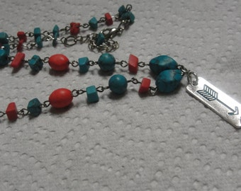 Teal Arrow Red Blue Beaded Necklace