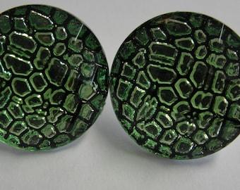 Acrylic Round Green Black Pierced Earrings