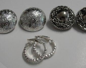 Lot of Three Silver Tone Clip Earrings