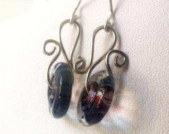 Blueberry Swirl Lamp Work Glass Earrings, Blue Sterling Silver Handmade Earrings, Sterling Silver Statement Earrings