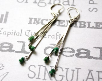 Minimalist Emerald Dangle Earrings, Long Sterling Silver Earrings with Emerald Beads, Simple Modern Silver Stick Earrings