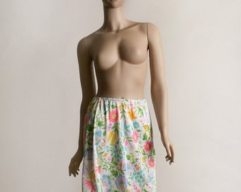 ON SALE Vintage 1960s Flower Half Slip - Psychedelic Bright Neon Floral Print - small
