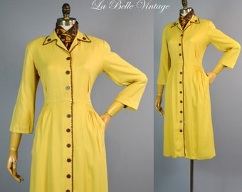 Vintage 1940s Mustard Rayon Gabardine Shirt Dress ~ Crochet Trim