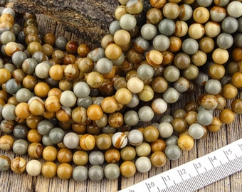8mm Owyhee Picture Jasper Beads, Wild Horse Jasper Beads, Round Picture Jasper gemstone Landscape Beads 8 mm - Full Strand