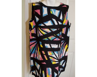 Vintage 1960's Abstract Print Tent Mini Dress Tunic