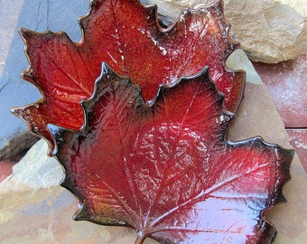 Fused Glass Red Maple Leaf Decorative Dish Bowl Autumn Decor Set of 2