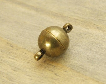 10mm Round Magnetic Clasp - Solid Brass - Golden Antique Bronze Finish - SUPER STRONG - Patina Queen - Choose Your Amount