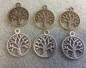 Pewter Tree of Life Charms Pendants Antique Brass Silver 10pcs Your Choice