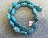 15x18mm Natural Genuine Turquoise Oval Beads from Nevada #8 Mine Great Matrix