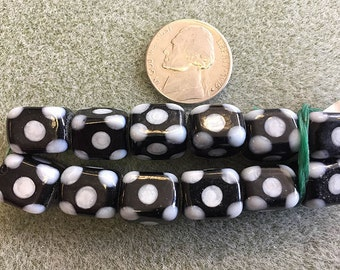 Rectangle Glass Lampwork Beads White and Black with Polka Dots 12pcs 10x12mm