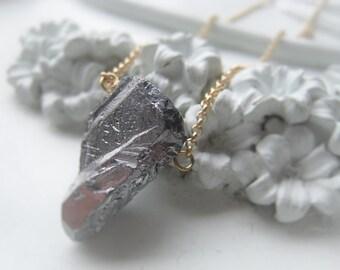 Gemstone Pendant Necklace Silver Quartz Point Chain Necklace Item No. 1918 988