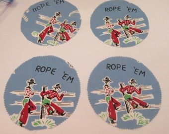 """Cowboy Campfire Coffee Break PATTERN AND precut fabric for 1 set of """"Rope Em"""" Blue Plates Cowboys and Horses Mugmats"""