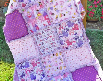 Princess Rag Quilt - Pink Purple - Perfect for a Little Girl - Lap Quilt - Girl Rag Quilt