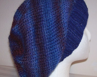 Wool/Acrylic Slouch Hat - Slouchy Knit Beanie - Knitted Dreadlock Toque - Hand Knit Hat - Blue/Burgundy - Wild Berries