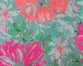 "lilly pulitzer's 2016 poolside blue beach walk poplin cotton fabric square 18""x18"""