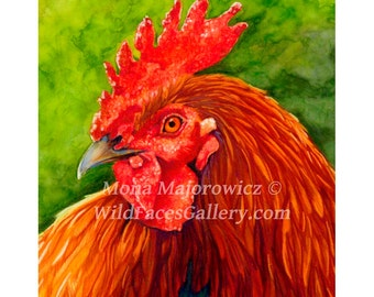 Rooster Art, Big Red Rooster Print, Chicken Art, Chicken Print, Country decor, kitchen decor, farm decor, chicken decor, rooster painting