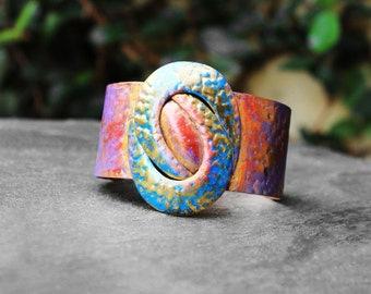 Cuff Bracelet, Copper Cuff, Bracelet, Colorful, Hand Painted, Brass, Afropunk, Living Color Hammered Copper and Brass Cuff Bracelet